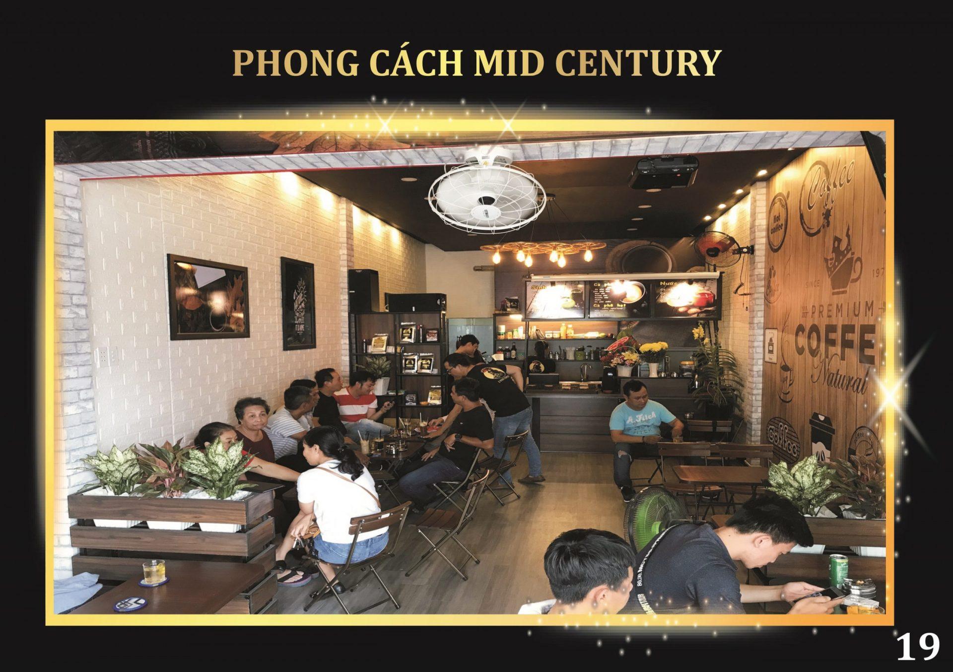 <em>Phong cách thiết kế Mid Century khi mở mô hình quán cà phê pha máy</em>
