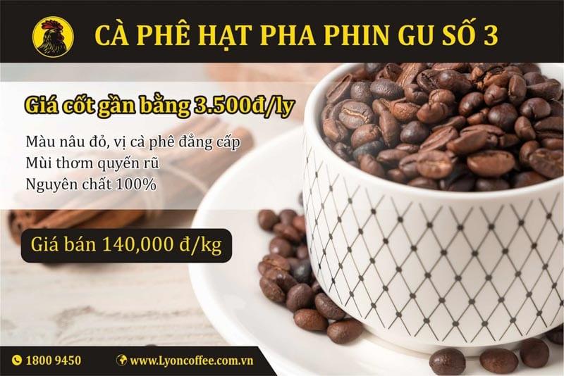 Mua cafe hạt rang xay gu số 3 dòng pha phin của Lyon Coffee