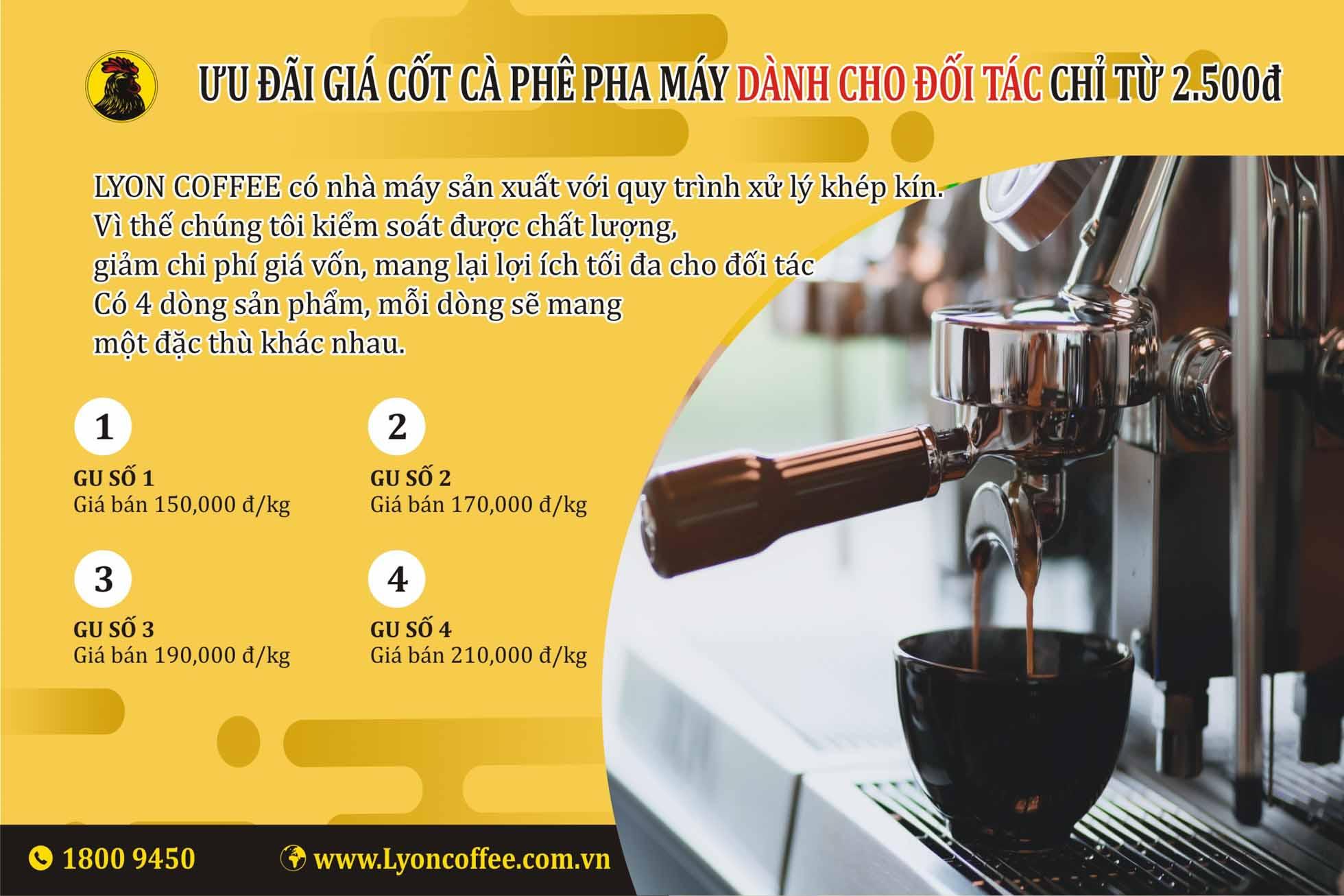 Tìm nguồn cung cấp các loại cafe pha máy dành cho quán cà phê