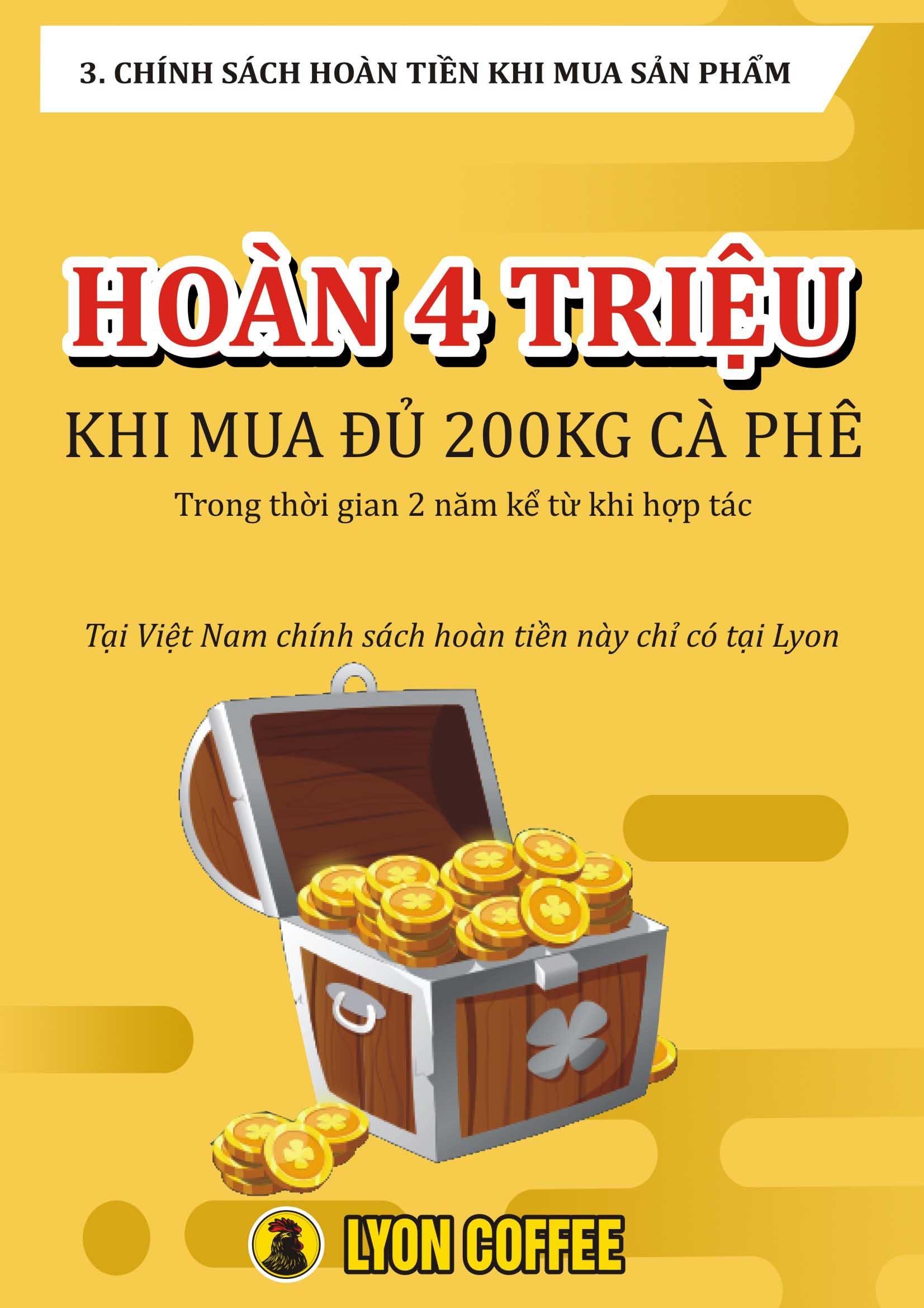Tại Việt Nam, chỉ Lyon Coffee mới có chính sách hoàn 4 triệu đồng khi mua sản phẩm