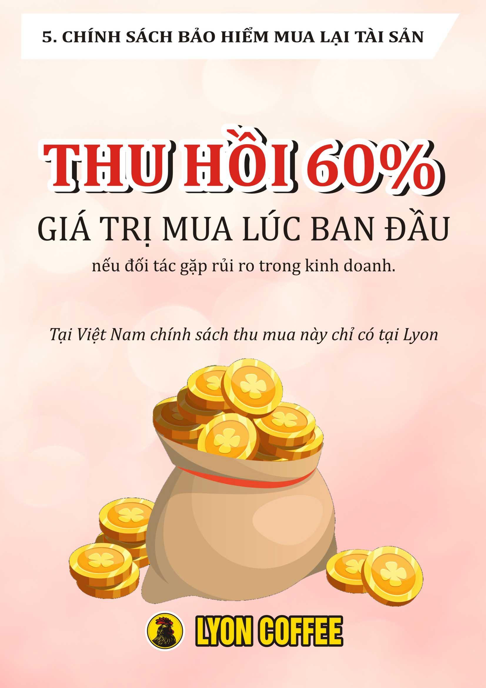 Tại Việt Nam, chỉ có tại Lyon Coffee mới có chính sách mua lại 60%