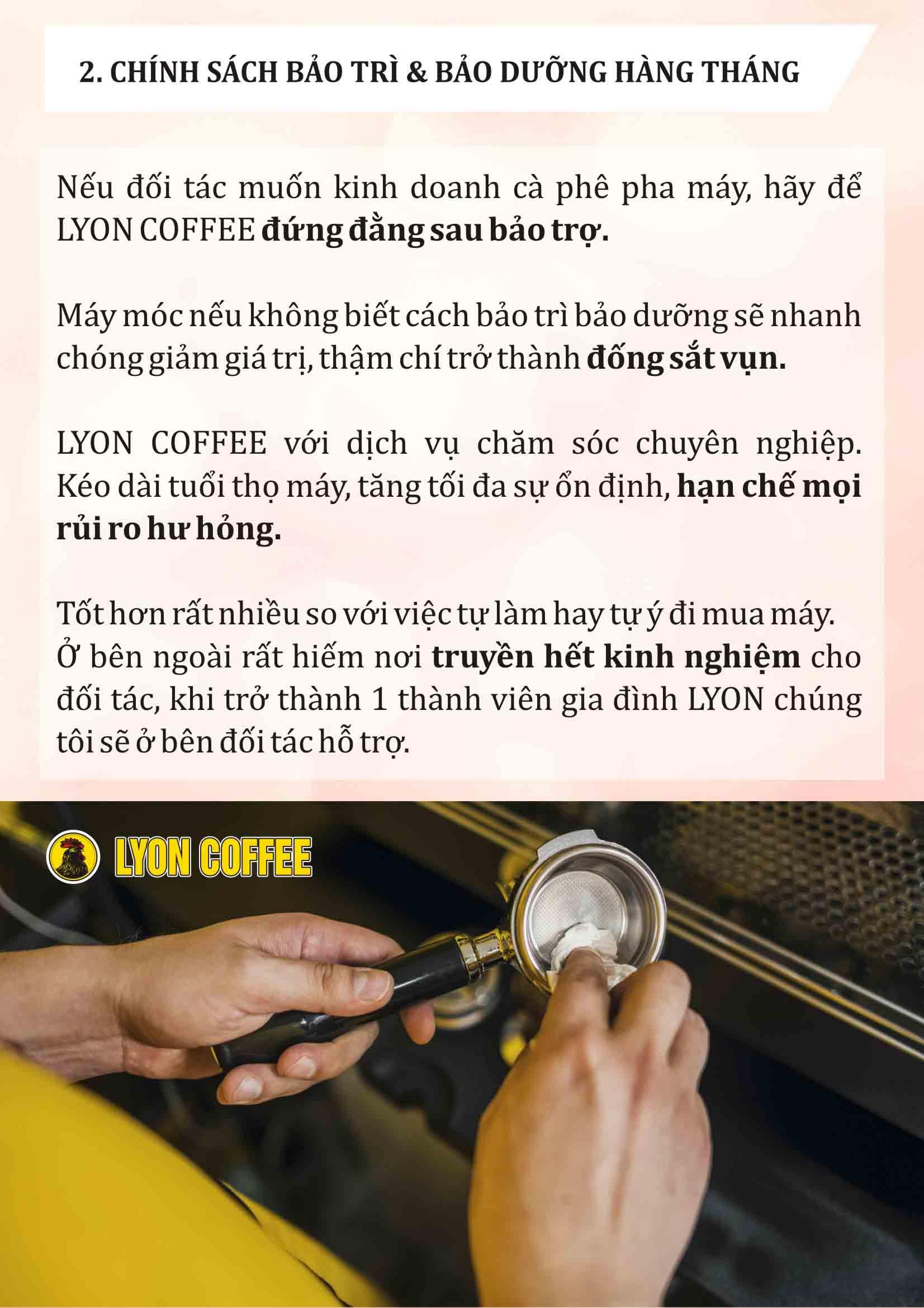 Chính sách bảo hành kiểm tra thường xuyên khi hợp tác với Lyon Coffee