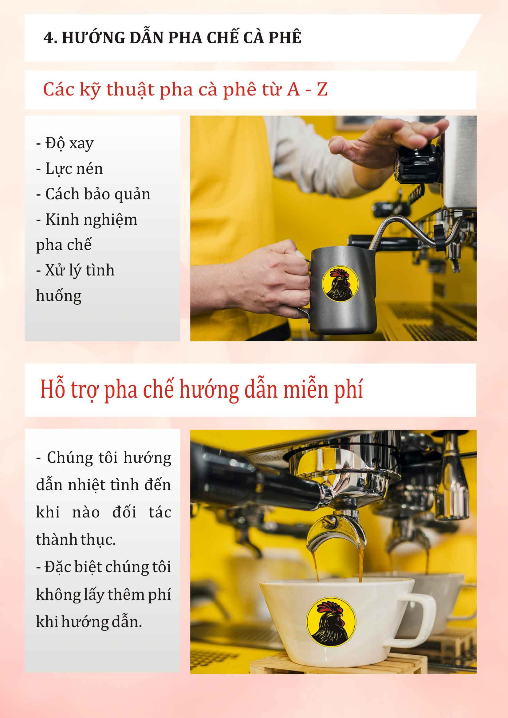 Đào tạo hướng dẫn pha chế cho đối tác khi thuê xe bán cà phê pha máy