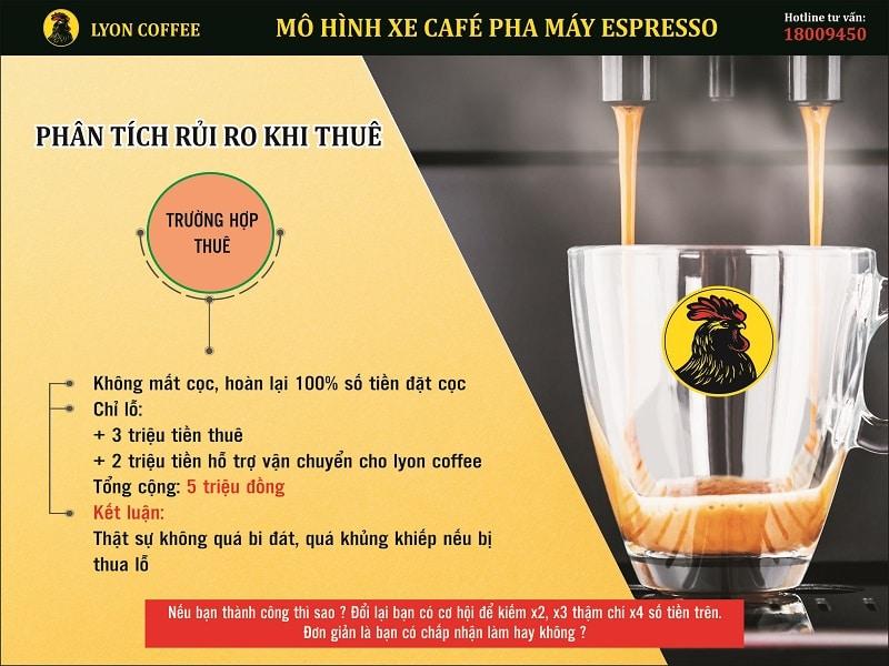 Chính sách hỗ trợ đối tác khi gặp rủi ro nhượng quyền xe cafe pha máy mang đi