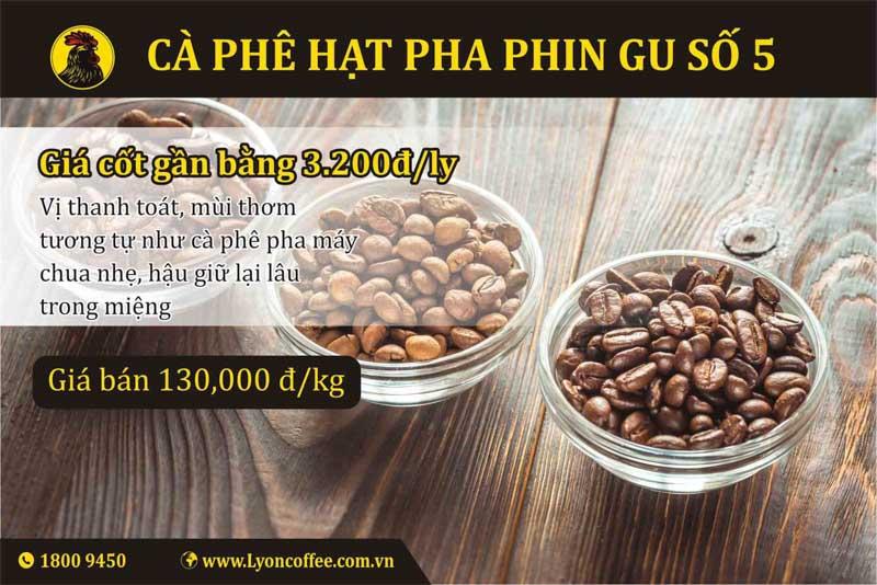 cà phê rang xay nguyên chất gu số 5