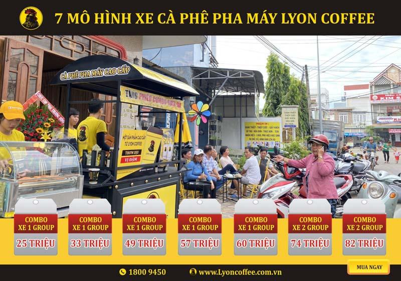 Mô hình kinh doanh mua xe đẩy bán cà phê mang đi Lyon Coffee