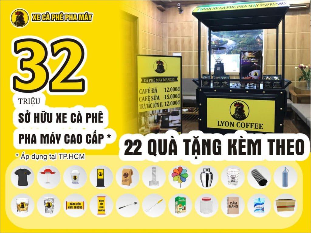 Khuyến mãi tặng 22 món hoặc 36 món khi đăng ký hợp tác nhượng quyền xe cà phê pha máy mang đi