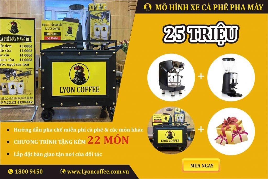 Combo nhượng quyền xe bán cafe pha máy mang đi 25 triệu đồng