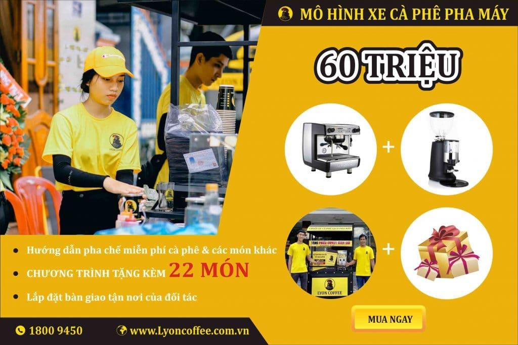 Combo nhượng quyền xe bán cafe pha máy mang đi 60 triệu đồng