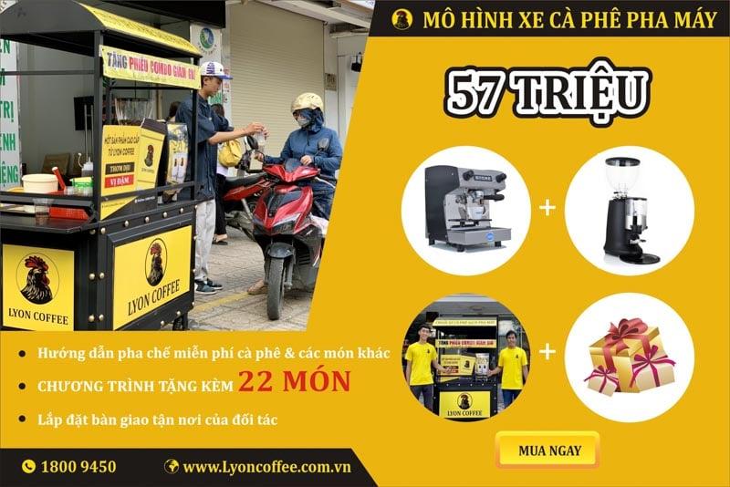 Combo nhượng quyền xe bán cafe pha máy mang đi 57 triệu đồng