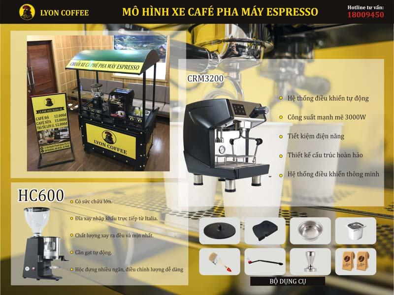 Mô hình xe cà phê pha máy